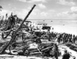 6th Regiment loads supplies on the west beach of Tarawa.